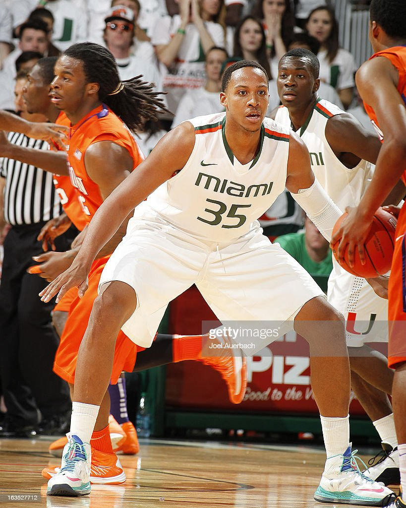 Kenny Kadji #35 of the Miami Hurricanes defends against the Clemson Tigers on March 9, 2013 at the BankUnited Center in Coral Gables, Florida. The Hurricanes defeated the Tigers 62-49 and won the Atlantic Coast Conference Championship.