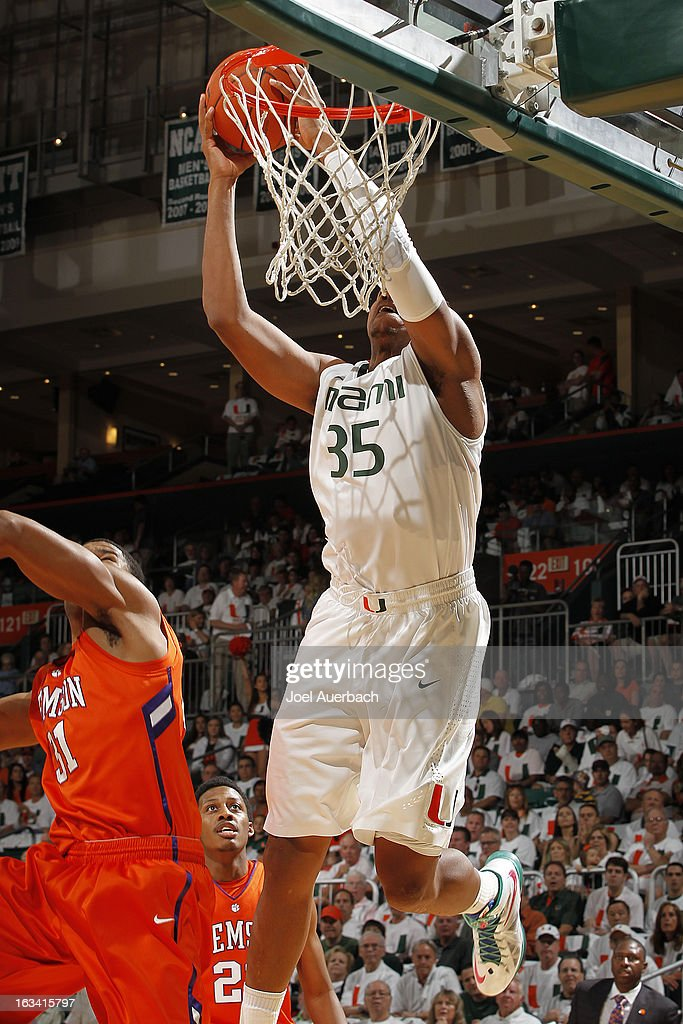 Kenny Kadji #35 of the Miami Hurricanes goes to the basket against the Clemson Tigers on March 9, 2013 at the BankUnited Center in Coral Gables, Florida.