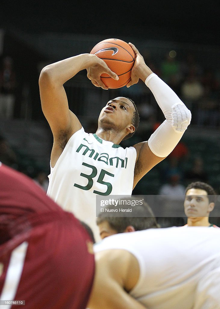 Kenny Kadji of the Miami Hurricanes shoots a free throw during the second half against the Boston College Eagles at the BankUnited Center in Miami, Florida, Tuesday, February 5, 2013. The Miami Hurricanes defeated the Boston College Eagles 72-50.