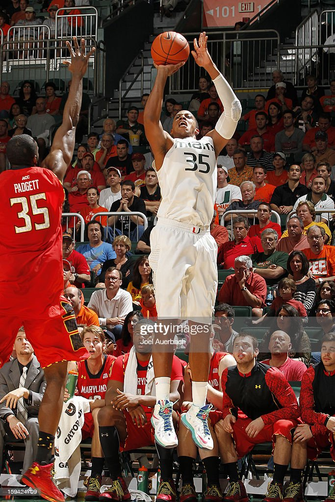 Kenny Kadji #35 of the Miami Hurricanes shoots a three pointer against the Maryland Terrapins on January 13, 2013 at the BankUnited Center in Coral Gables, Florida.