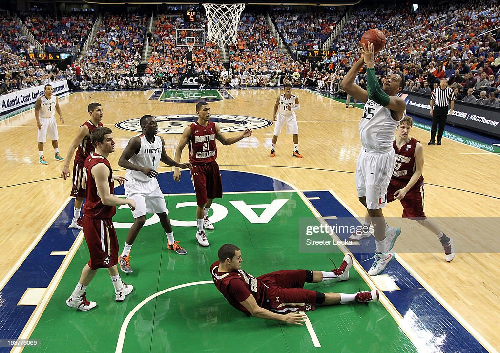 Kenny Kadji #35 of the Miami Hurricanes shoots over Ryan Anderson #12 of the Boston College Eagles during the quarterfinals of the Men's ACC Basketball Tournament at Greensboro Coliseum on March 15, 2013 in Greensboro, North Carolina.