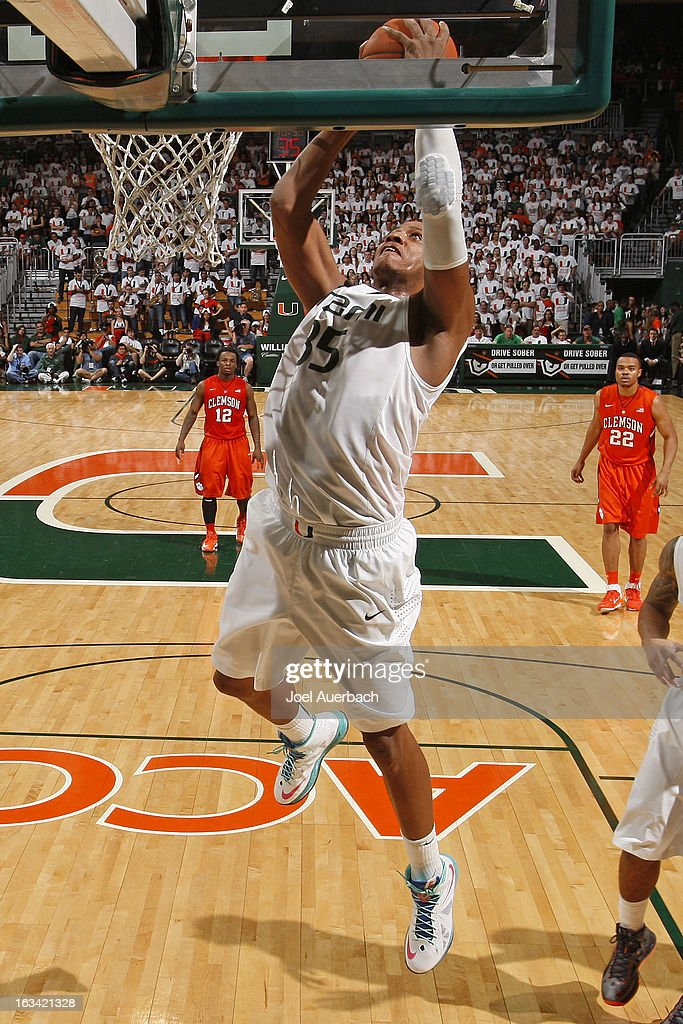 Kenny Kadji #35 of the Miami Hurricanes takes a defensive rebound against the Clemson Tigers on March 9, 2013 at the BankUnited Center in Coral Gables, Florida. The Hurricanes defeated the Tigers 62-49 and won the Atlantic Coast Conference Championship.