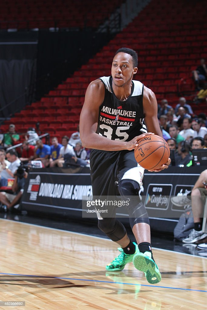 <a gi-track='captionPersonalityLinkClicked' href=/galleries/search?phrase=Kenny+Kadji&family=editorial&specificpeople=5759678 ng-click='$event.stopPropagation()'>Kenny Kadji</a> #35 of the Milwaukee Bucks handles the ball during the game against the Golden State Warriors at the Samsung NBA Summer League 2014 on July 18, 2014 at the Thomas & Mack Center in Las Vegas, Nevada.