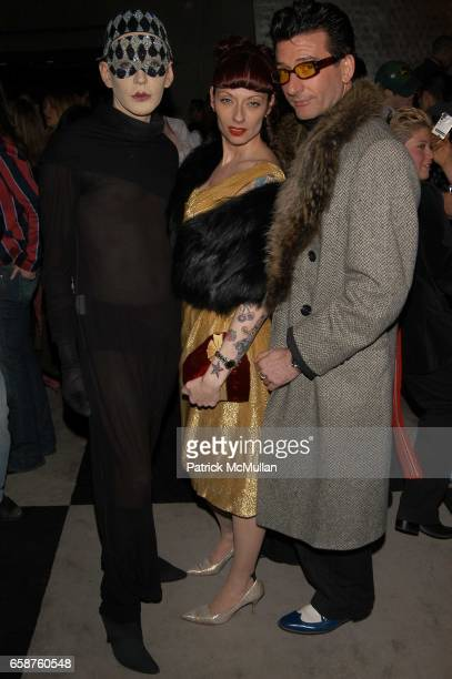 Kenny Kenny Patricia Kennedy and Luigi Babe attend the Mao Mag Fashion Week kickoff party at the Paramount Hotel on February 04 2004 in New York City