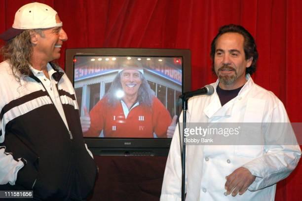 Kenny Kramer and Larry Thomas during Larry Thomas Visits Kenny Kramer's Reality 'Seinfeld' Tour in New York City at Larry Thomas Seinfeld's Soup Nazi...