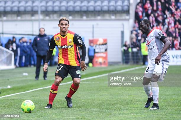 Kenny Lala of Lens during the French Ligue 2 match between Lens and Valenciennes at Stade BollaertDelelis on February 25 2017 in Lens France