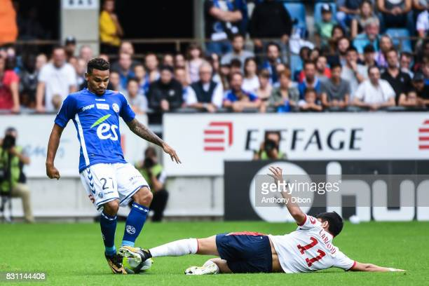 Kenny Lala of Strasbourg is tackle by Luiz De Araujo of Lille during the Ligue 1 match between Racing Club Strasbourg and Lille OSC at Stade de la...