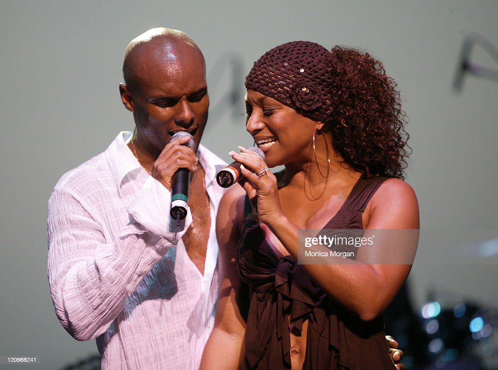 Kenny Lattimore and Chante Moore during Kenny Latimore and Chante Moore in Concert July 22 2005 at Chene Park in Detroit Michigan United States