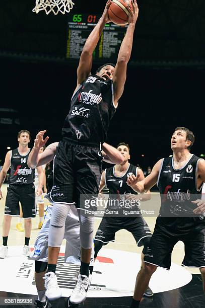 Kenny Lawson of Segafredo competes with Dane Diliegro of Tezenis during the match of LNP LegaBasket Serie A2 between Virtus Segafredo Bologna and...