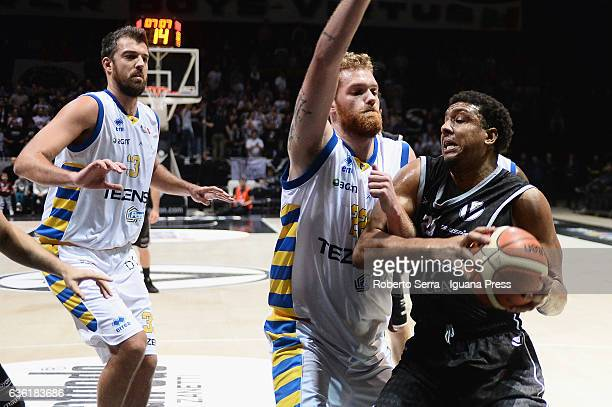 Kenny Lawson of Segafredo competes with David Brikic and Giovanni Pini of Tezenis during the match of LNP LegaBasket Serie A2 between Virtus...
