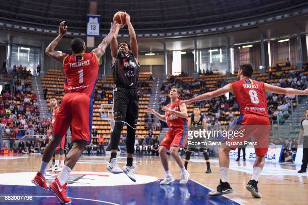 Kenny Lawson of Segafredo competes with Jordan Tolbert and Davide Denegri and Nicola Natali of Novipiu during the LNP Legabasket of Serie A2 play off...