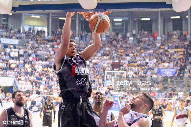 Kenny Lawson of Segafredo competes with Justin Knox and Nazzareno Italiano of Kontatto during the LegaBasket LNP of serie A2 match between Fortitudo...