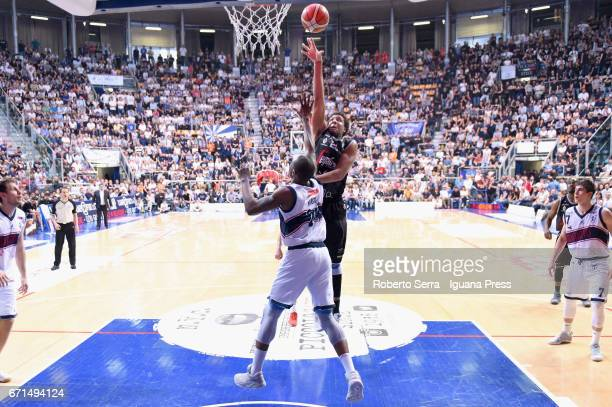 Kenny Lawson of Segafredo competes with Justin Knox of Kontatto during the LegaBasket LNP of serie A2 match between Fortitudo Kontatto Bologna and...