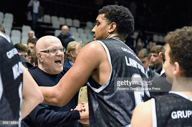 Kenny Lawson of Segafredo congratulated by Alberto Bucci president of Virtus Bologna during the match of LNP LegaBasket Serie A2 between Virtus...