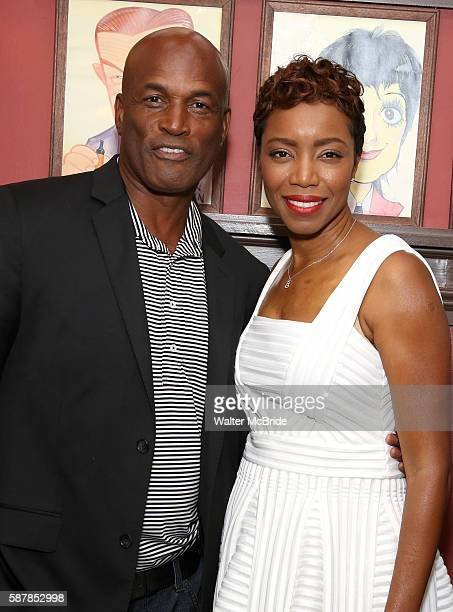Kenny Leon and Heather Headley attend the unveiling of Heather Headley's Portrait on the Sardi's Wall of Fame at Sardi's Restaurant on August 9 2016...