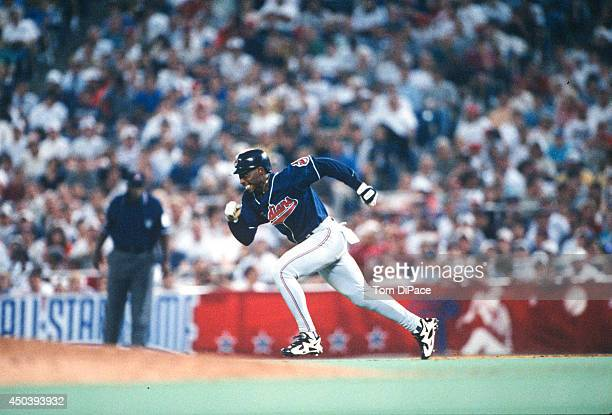 Kenny Lofton of the Cleveland Indians steals second base during the 67th MLB AllStar game against the National League at Veterans Stadium on Tuesday...