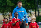 Kenny Logan launches National Mini Tennis Week at Southark City Tennis Centre on May 31 2012 in Camberwell England National Mini Tennis week runs...