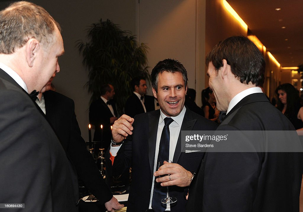 Kenny Logan (C) shares a joke with John Wells (R) and Dean Richards during the inaugural Premiership Rugby Hall of Fame Ball at the Hurlingham Club on February 7, 2013 in London, England.