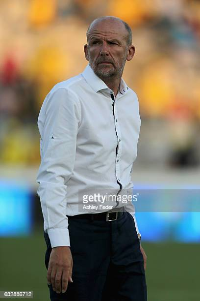 Kenny Lowe coach of Perth Glory after losing during the round 17 ALeague match between the Central Coast Mariners and the Perth Glory at Central...