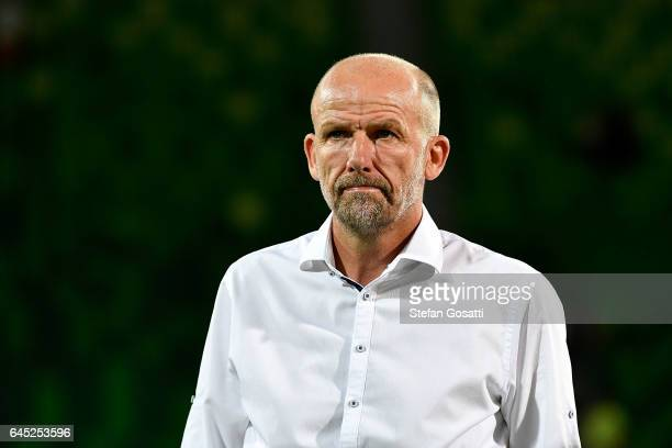 Kenny Lowe coach of Perth Glory during the round 21 ALeague match between the Perth Glory and Western Sydney Wanderers at nib Stadium on February 25...