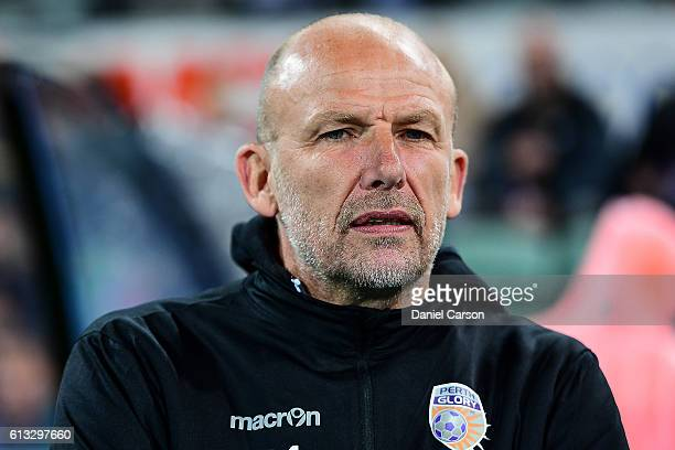 Kenny Lowe coach of the Perth Glory looks on during the round one ALeague match between the Perth Glory and the Central Coast Mariners at nib Stadium...