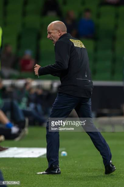 Kenny Lowe Head Coach of Perth Glory celebrates his teams second goal during the Elimination Round of the Hyundai ALeague Finals Series between Perth...