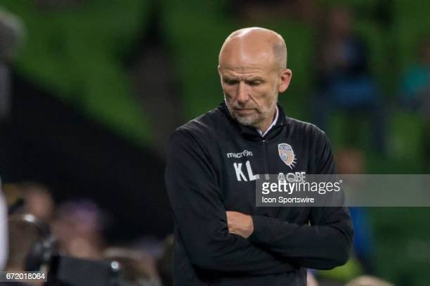 Kenny Lowe Head Coach of Perth Glory looks down in disappointment after a period of play during the Elimination Round of the Hyundai ALeague Finals...