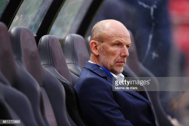 Kenny Lowe head coach of Perth Glory looks on during the round 25 ALeague match between Adelaide United and Perth Glory at Coopers Stadium on March...