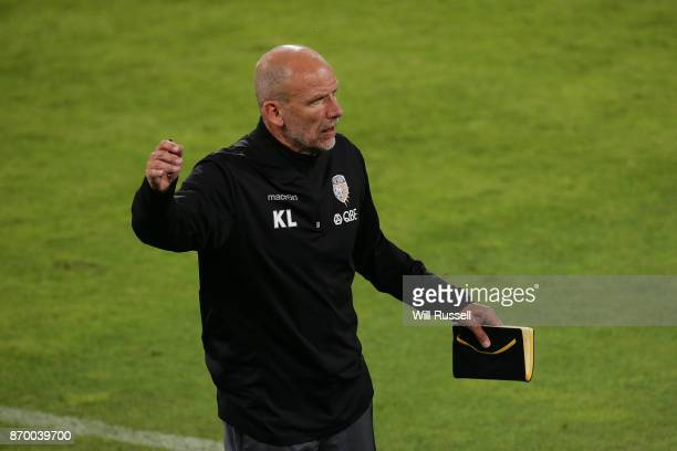 Kenny Lowe head coach of the Glory during the round five ALeague match between the Perth Glory and Adelaide United at nib Stadium on November 4 2017...