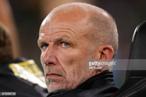 Kenny Lowe head coach of the Glory looks on during the round five ALeague match between the Perth Glory and Adelaide United at nib Stadium on...