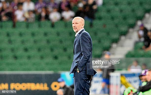 Kenny Lowe head coach of the Glory watches on during the round 14 ALeague match between the Perth Glory and the Wellington Phoenix at nib Stadium on...