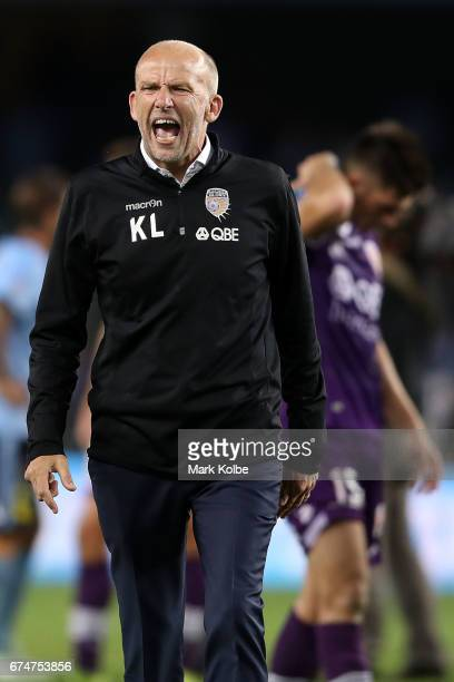 Kenny Lowe manager of the Glory shows his frustraion after defeat during the ALeague Semi Final match between Sydney FC and the Perth Glory at...