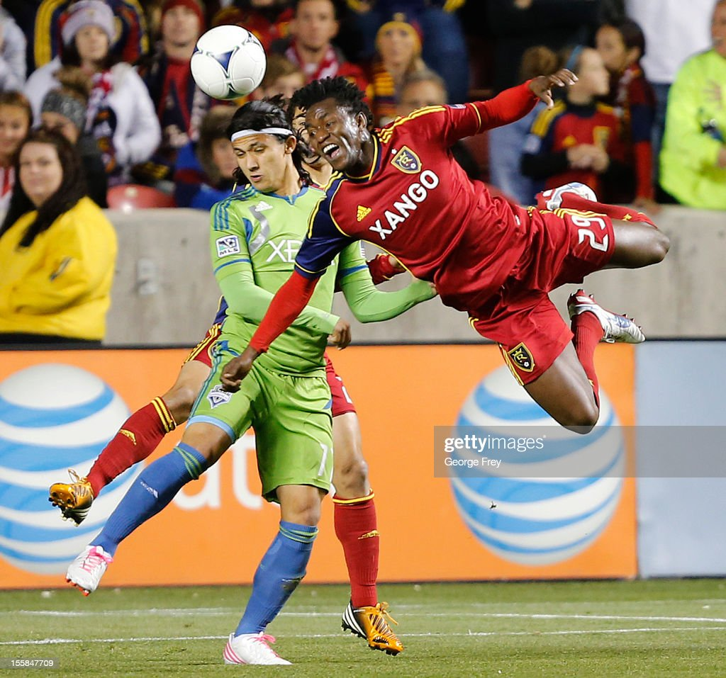 Kenny Mansally #29 of Real Salt Lake heads the ball past <a gi-track='captionPersonalityLinkClicked' href=/galleries/search?phrase=Fredy+Montero&family=editorial&specificpeople=5563695 ng-click='$event.stopPropagation()'>Fredy Montero</a> #17 of the Seattle Sounders during the first half of an MLS Western Conference Semifinals play-off soccer game November 8, 2012 at Rio Tinto Stadium in Sandy, Utah.