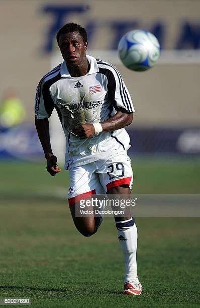 Kenny Mansally of the New England Revolution chases after the ball in the first half during their SuperLiga match against CD Chivas USA at Titan...