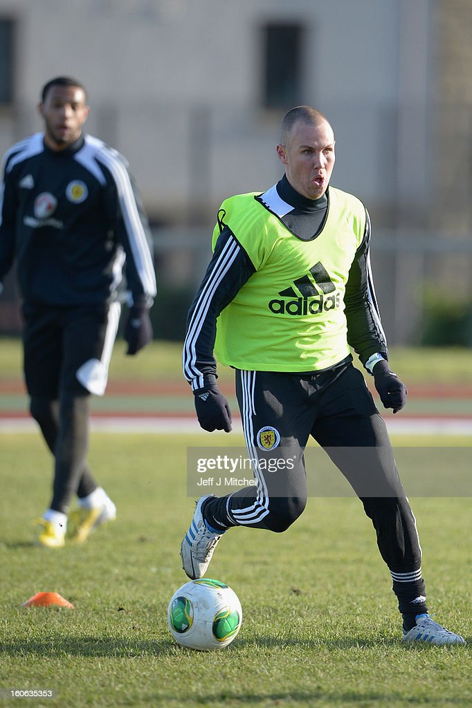 Kenny Miller in action during Gordon Strachan's first training session as Scotland coach at the Aberdeen Sports village on February 4, 2013 in Aberdeen, Scotland. Gordan Strachan will have his first game in charge against Estonia in an international friendly at Pittodrie on Wednesday.