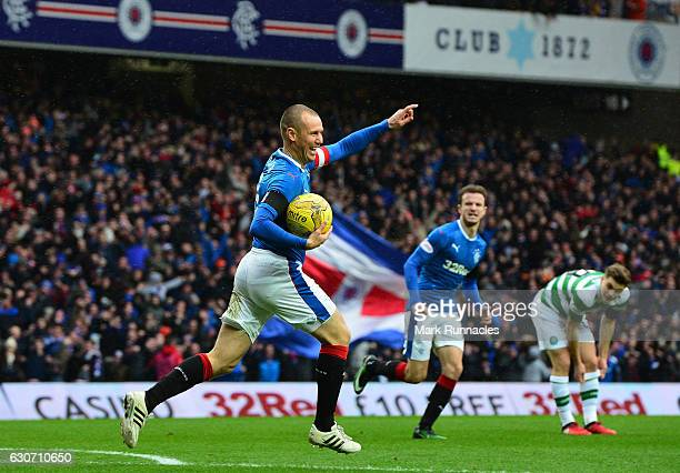Kenny Miller of Rangers celebrates scoring the opening goal during the Ladbrokes Scottish Premiership match between Rangers and Celtic at Ibrox...