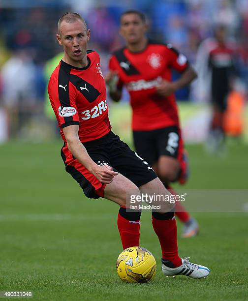 Kenny Miller of Rangers controls the ball during the Scottish Championships match between Greenock Morton FC and Rangers at Cappielow Park on...