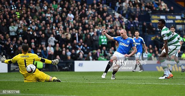 Kenny Miller of Rangers scores the opening goal of the game during the William Hill Scottish Cup semi final between Rangers and Celtic at Hampden...