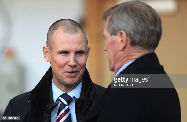 Kenny Miller of Rangers talks with Rangers majority share holder Dave King is seen during the Betfred League Cup Semi Final between Rangers and...