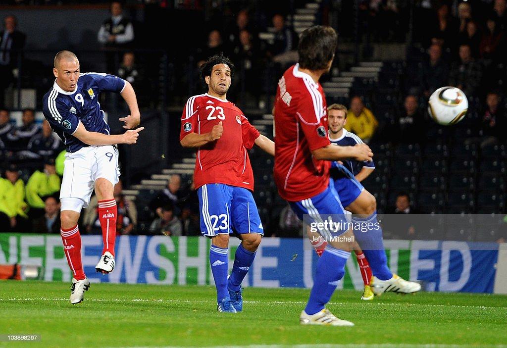 Kenny Miller of Scotland scores during the UEFA Euro 2012 Group I Qualifying match between Scotland and Liechtenstein at Hampden Park on September 7...