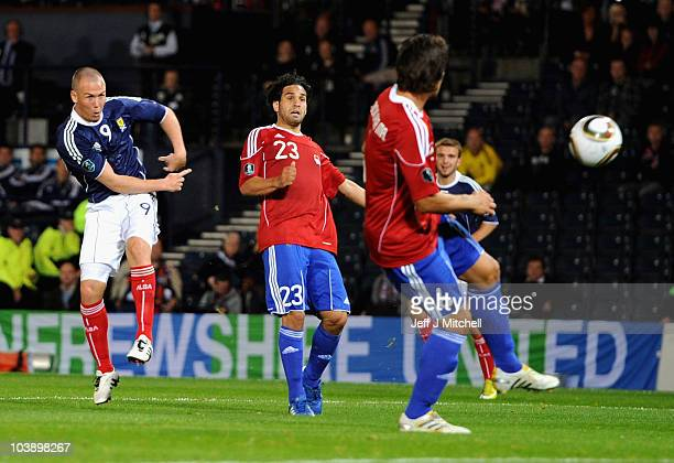 Kenny Miller of Scotland scores during the UEFA Euro 2012 Group I Qualifying match between Scotland and Liechtenstein at Hampden Park on September 7...