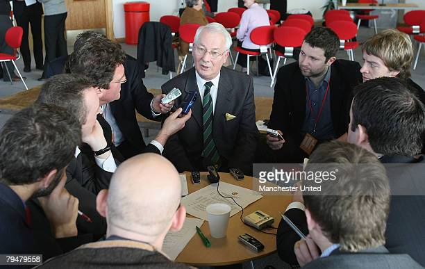 Kenny Morgans speaks during a press conference concerning the 50th anniversary of the Munich Air Disaster at Carrington Training Ground on January 9...