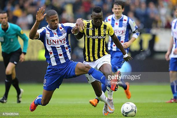 Kenny Otigba Bertrand Traore during the Europa League playoffs Final match between Vitesse Arnhem and SC Heerenveen at Gelredome on May 31 2015 in...