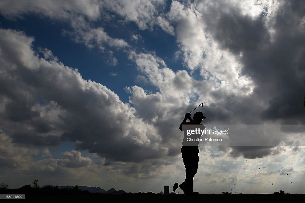 Kenny Perry hits a tee shot on the 13th hole during round three of the Charles Schwab Cup Championship on the Cochise Course at The Desert Mountain...