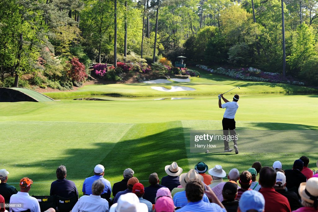 Kenny Perry hits his tee shot on the 12th hole during the final round of the 2009 Masters Tournament at Augusta National Golf Club on April 12, 2009 in Augusta, Georgia.