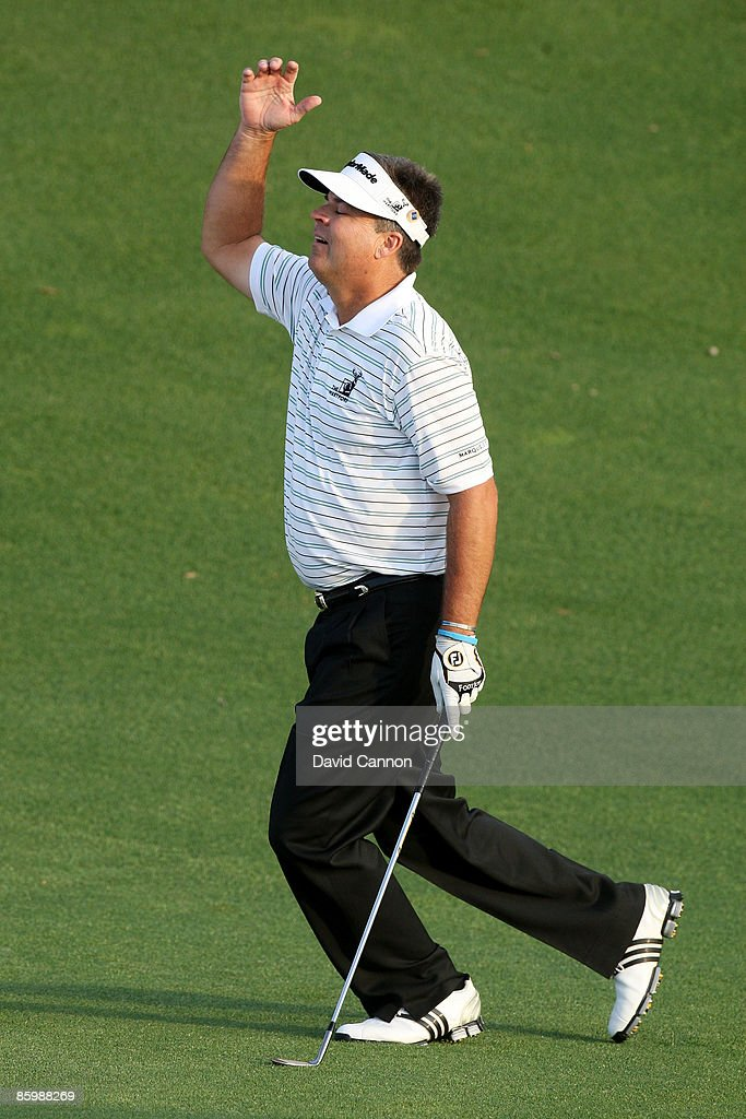 Kenny Perry reacts to his chip shot on the first sudden death playoff hole during the final round of the 2009 Masters Tournament at Augusta National Golf Club on April 12, 2009 in Augusta, Georgia.