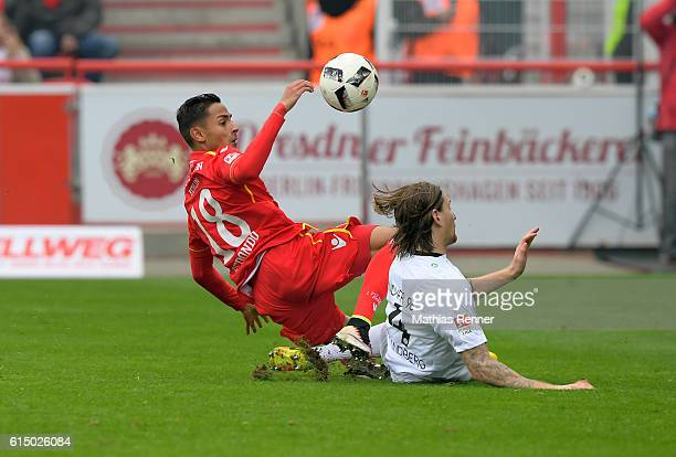 Kenny Prince Redondo of 1 FC Union Berlin and Stefan Strandberg of Hannover 96 during the Second Bundesliga match between 1 FC Union Berlin and...