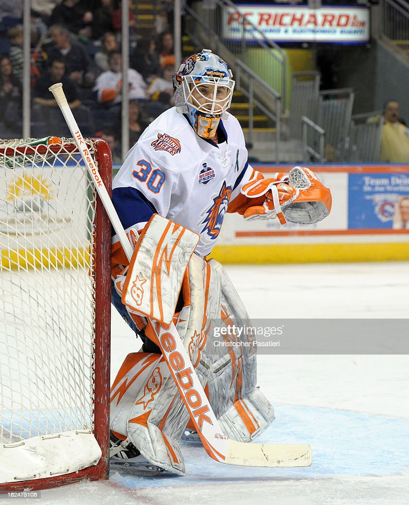 Kenny Reiter #30 of the Bridgeport Sound Tigers looks on as he tends goal during an American Hockey League game against the Manchester Monarchs on February 23, 2013 at the Webster Bank Arena at Harbor Yard in Bridgeport, Connecticut.