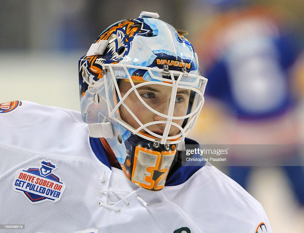 Kenny Reiter #30 of the Bridgeport Sound Tigers looks on prior to an American Hockey League game against the Norfolk Admirals on February 2, 2013 at the Webster Bank Arena at Harbor Yard in Bridgeport, Connecticut.