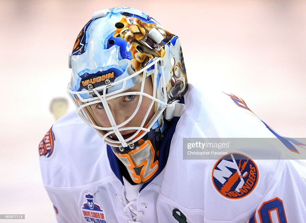 Kenny Reiter #30 of the Bridgeport Sound Tigers looks on prior to an American Hockey League game against the Adirondack Phantoms on March 2, 2013 at the Webster Bank Arena at Harbor Yard in Bridgeport, Connecticut.